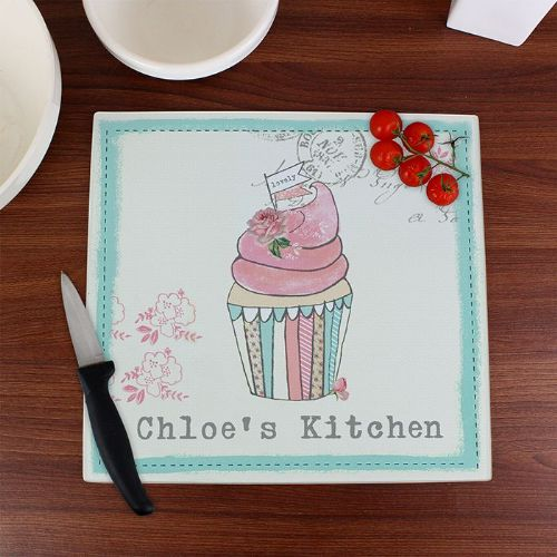 Personalised Vintage Cupcake Glass Chopping Board